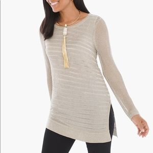 Chico's Amelie Pullover Metallic Gold Size 1/US 8